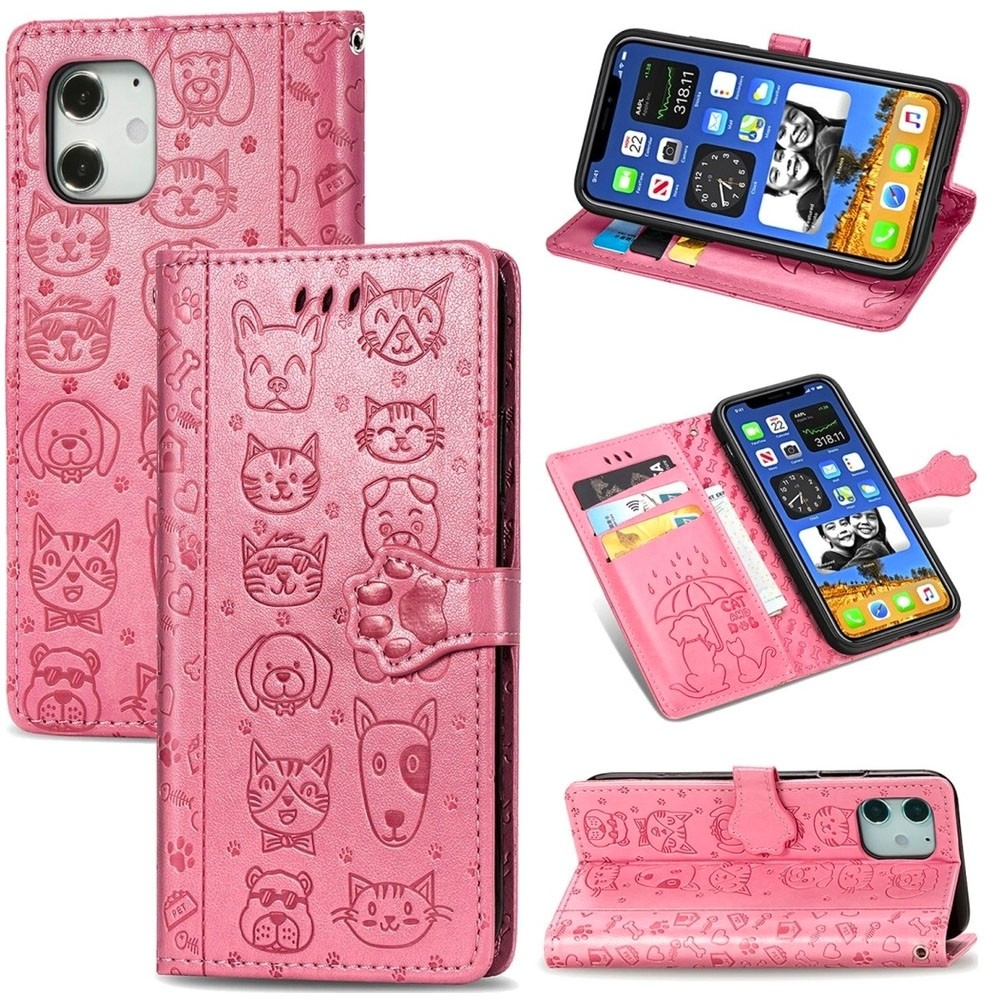 Mobiq Embossed Animal Wallet Hoesje iPhone 12 Mini Roze - 3