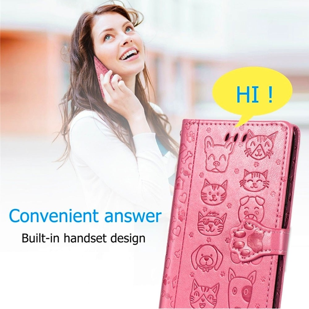 Mobiq Embossed Animal Wallet Hoesje iPhone 12 Mini Rose Gold - 3