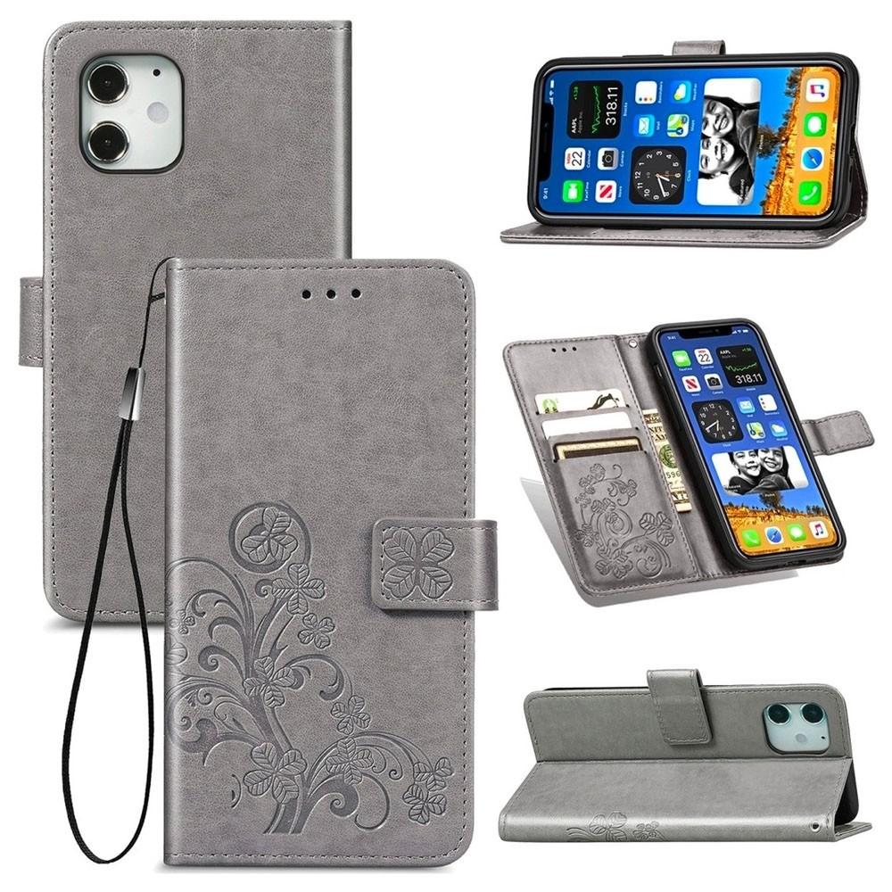 Mobiq Fashion Wallet Book Cover iPhone 12 6.1 Grijs - 3