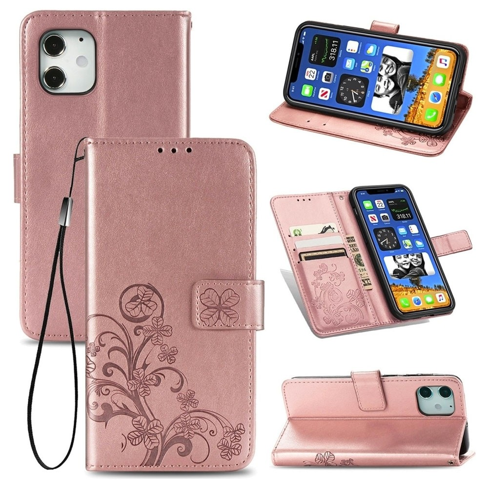 Mobiq Fashion Wallet Book Cover iPhone 12 6.1 Rose Gold - 3