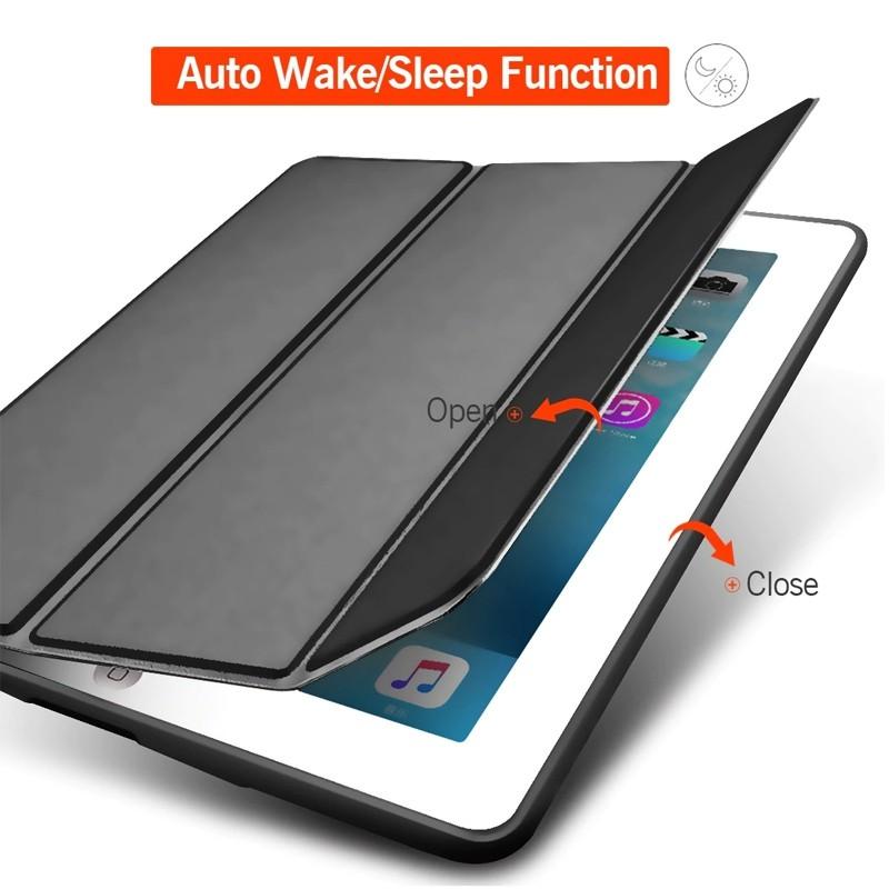 Mobiq Flexibele Tri-folio hoes iPad 9.7 2018/2017, iPad Air 2, iPad Air 1 Zwart 03