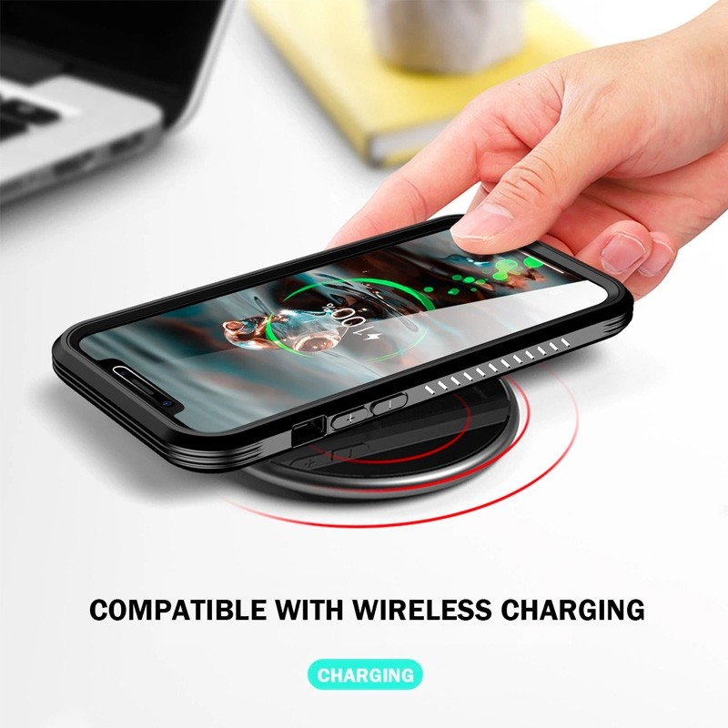Mobiq Rugged 360 Graden Full Body Case iPhone 12 / 12 Pro 6.1 inch Zwart - 3