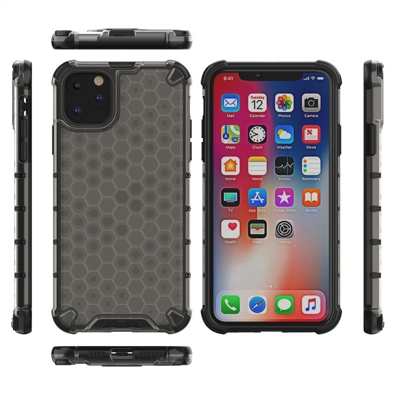 Mobiq honingraat armor hoesje iPhone 11 Pro grijs - 3