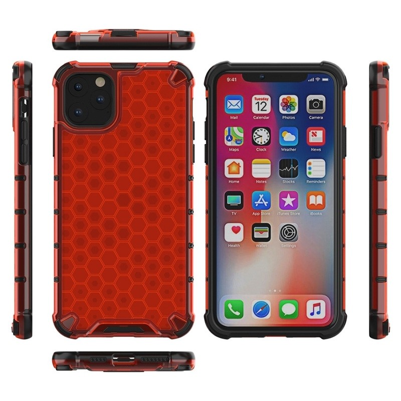 Mobiq honingraat armor hoesje iPhone 11 Pro Max rood - 3
