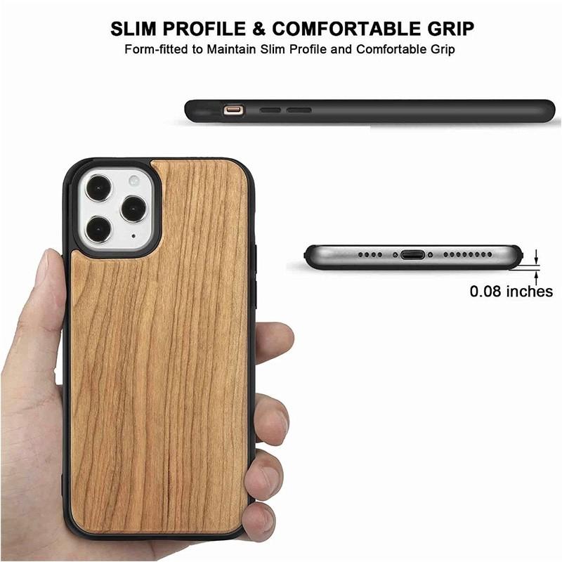 Mobiq - Houten Hoesje iPhone 13 Pro Kersen - 3