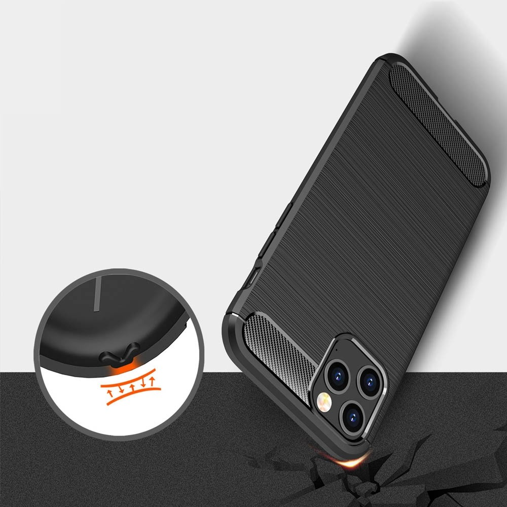 Mobiq Hybrid Carbon Hoesje iPhone 12 Pro Max Zwart - 3