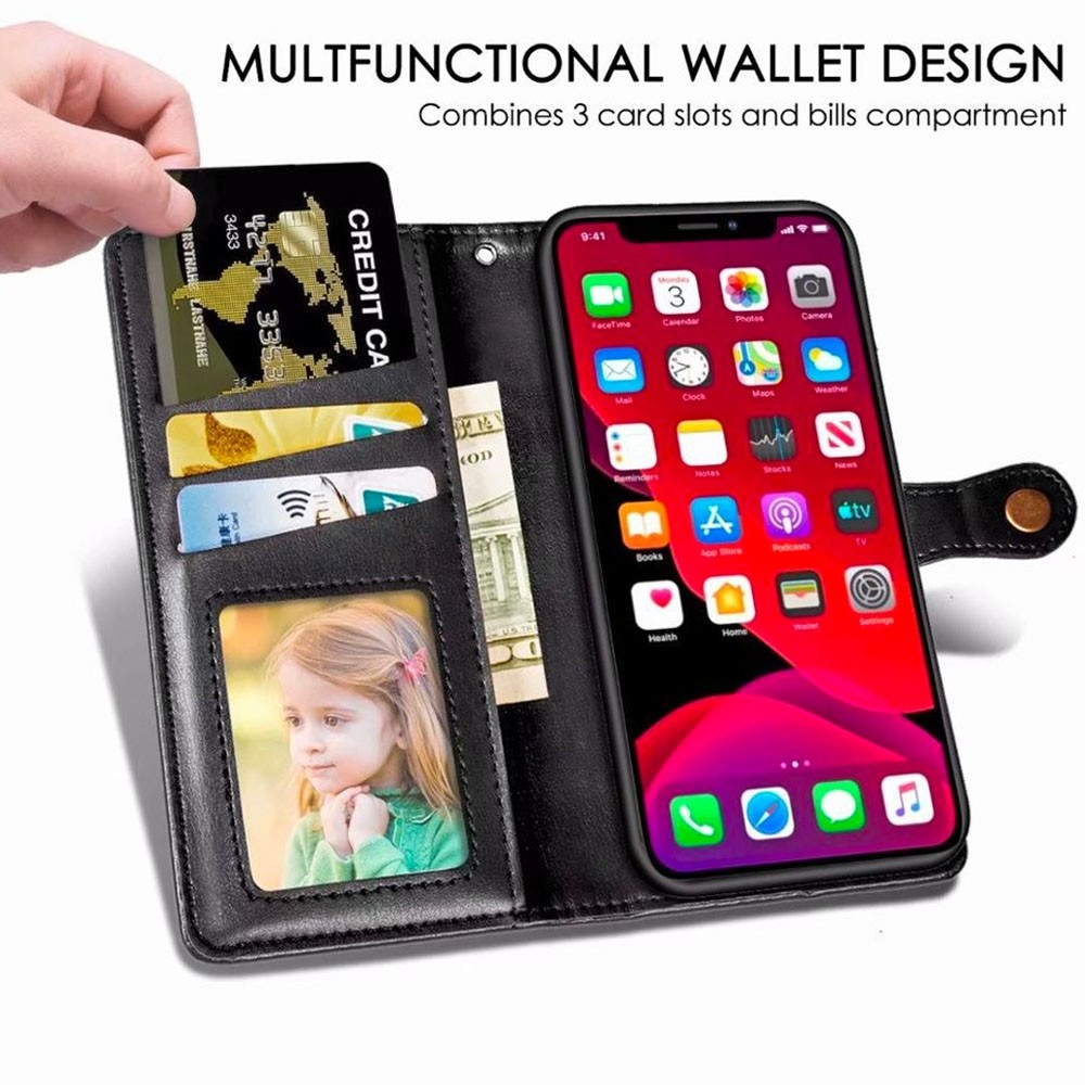 Mobiq Klassieke Wallet Case iPhone 12 Pro Max Rood - 3