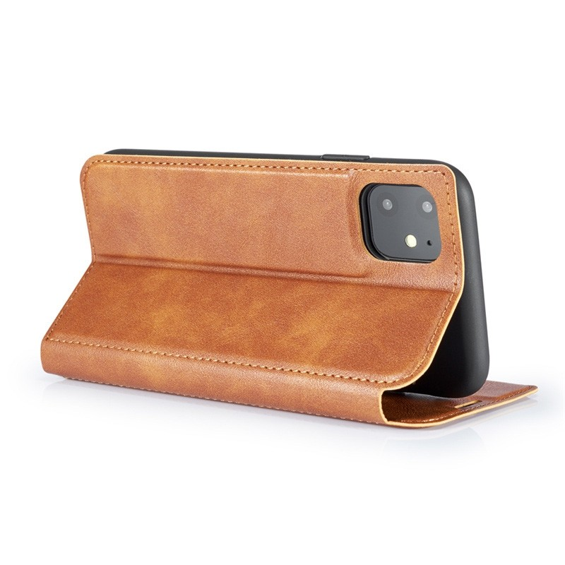 Mobiq - Slim Magnetic Wallet iPhone 11 Pro Max Bruin - 3