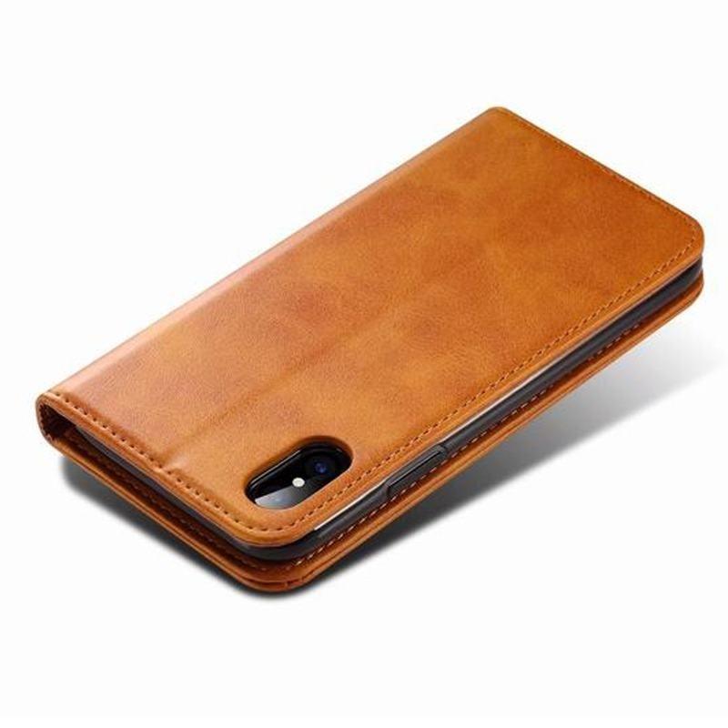 Mobiq Lederen iPhone X/Xs Portemonnee Hoes Tan 03