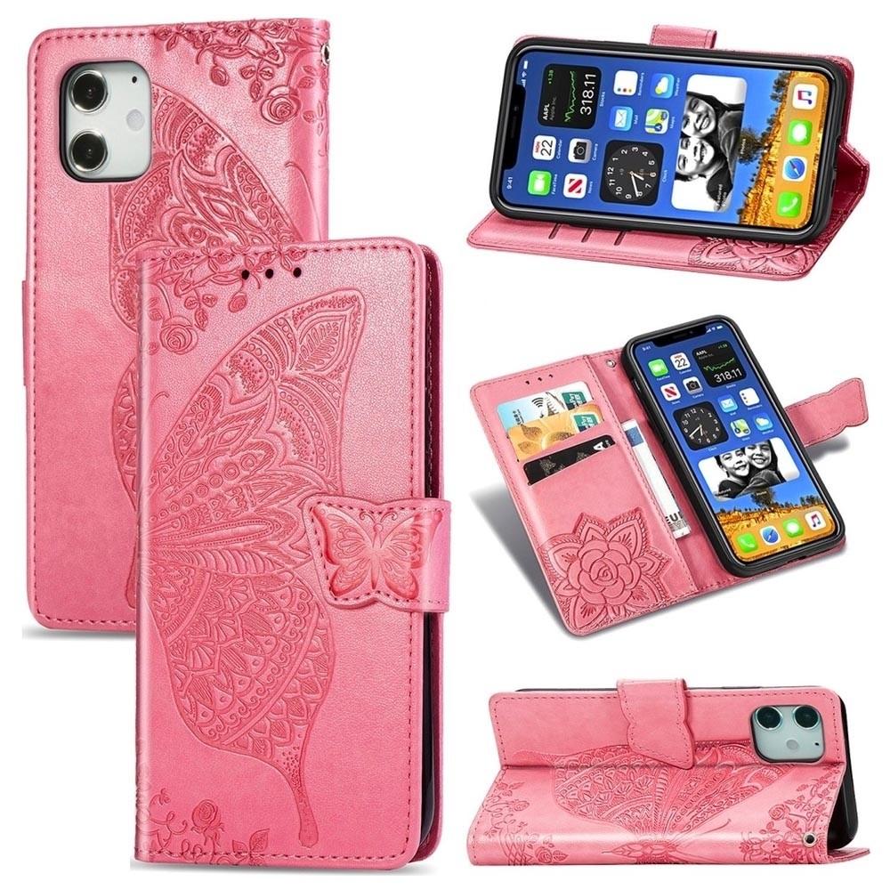 Mobiq Premium Butterfly Wallet Hoesje iPhone 12 6.1 inch Roze - 3