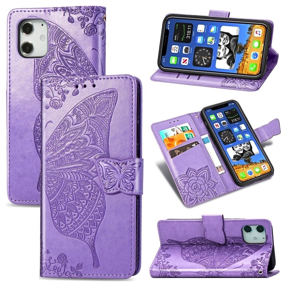 Mobiq Premium Butterfly Wallet Hoesje iPhone 12 Mini Lichtpaars - 3
