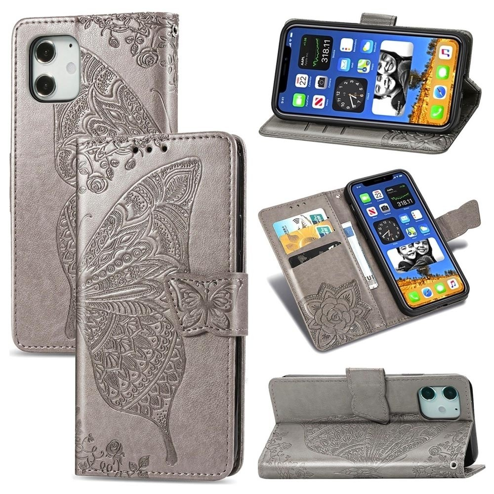 Mobiq Premium Butterfly Wallet Hoesje iPhone 12 6.1 inch Grijs - 3