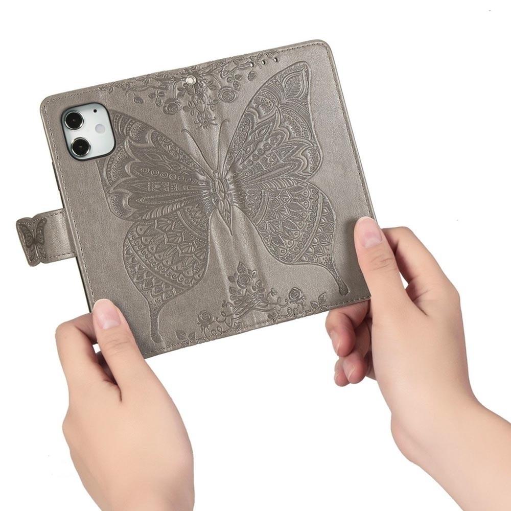Mobiq Premium Butterfly Wallet Hoesje iPhone 12 Mini Grijs - 3