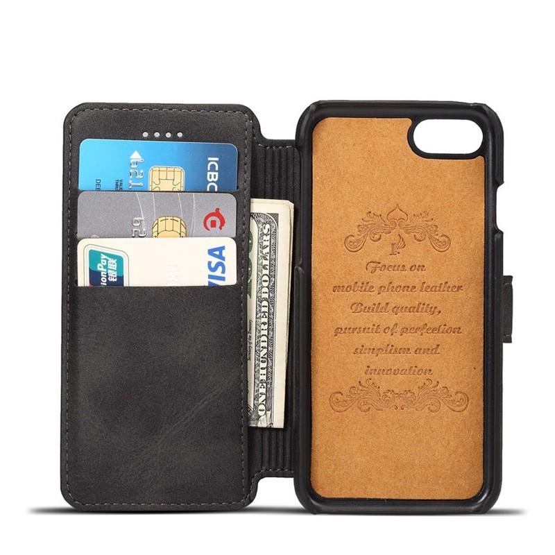 Mobiq Premium Lederen iPhone 8 / iPhone 7 Wallet hoes Zwart 03