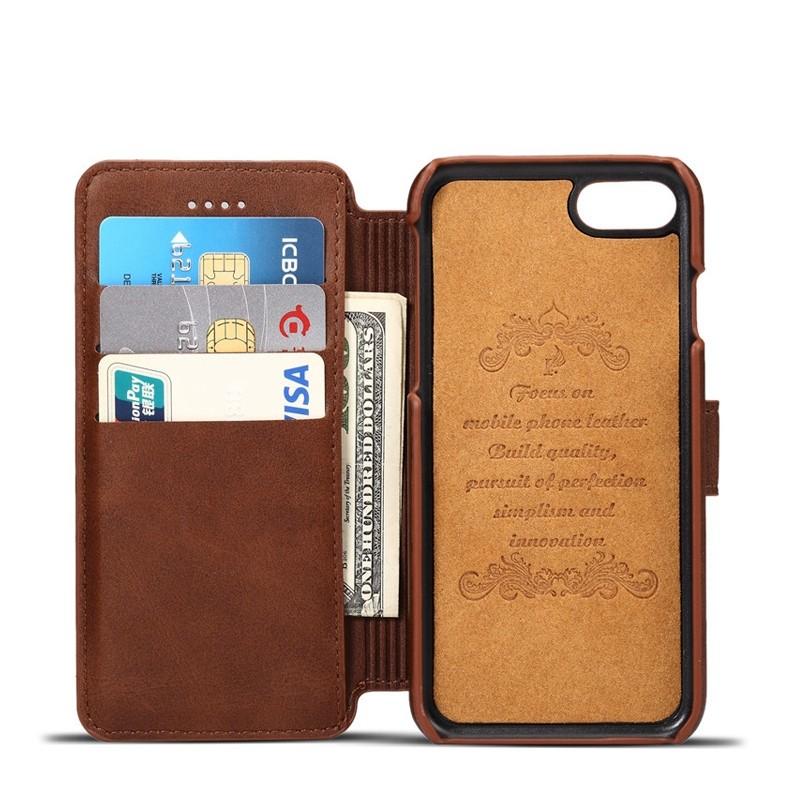 Mobiq Premium Lederen iPhone 8 / iPhone 7 Wallet hoes Bruin 03