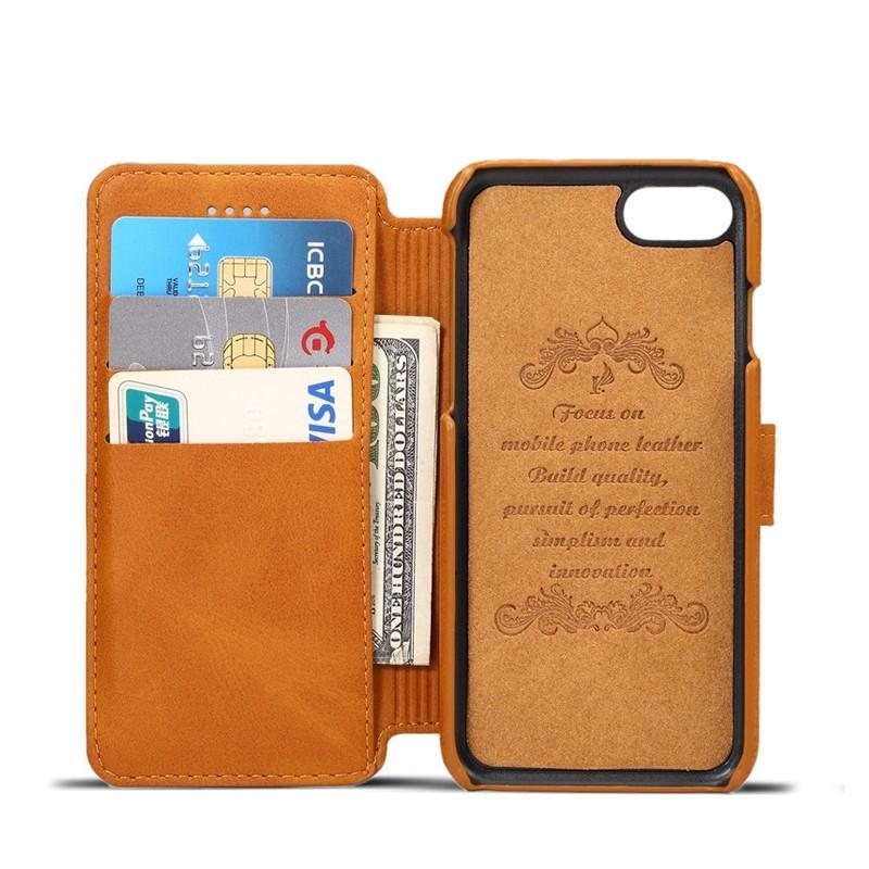 Mobiq Premium Lederen iPhone 8 / iPhone 7 Wallet hoes Tan Bruin 03