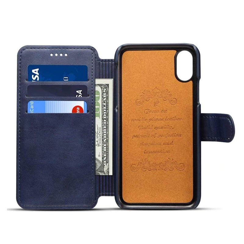 Mobiq Premium Lederen iPhone X/Xs Wallet hoes Blauw 03