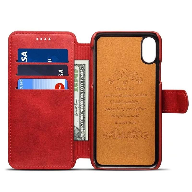 Mobiq Premium Lederen iPhone X/Xs Wallet hoes Rood 03