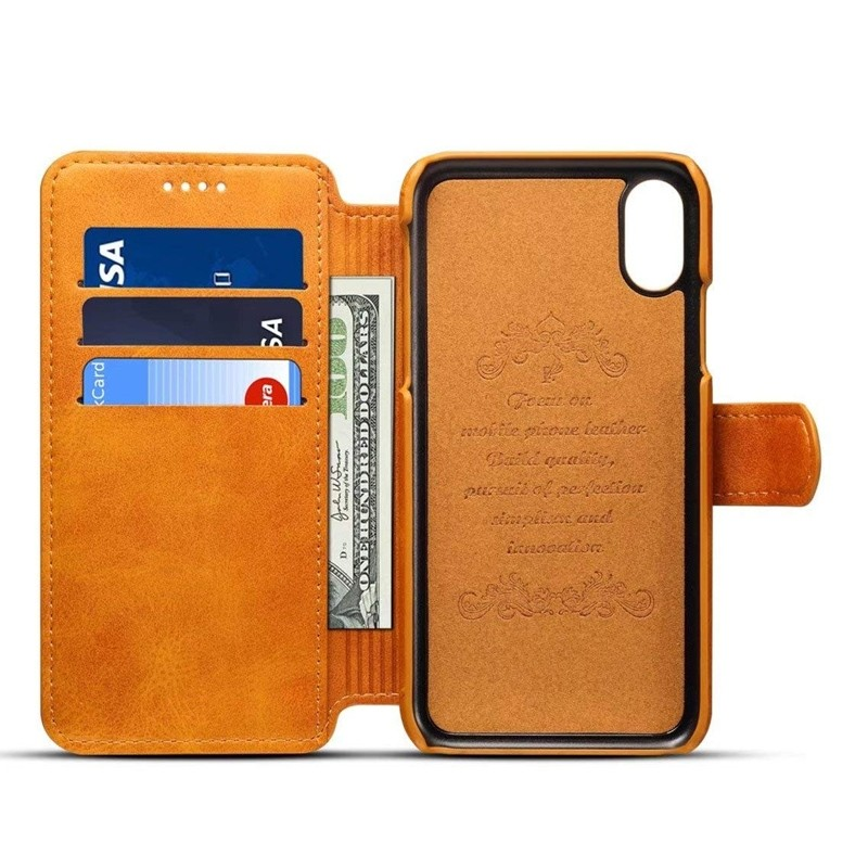 Mobiq Premium Lederen iPhone X/Xs Wallet hoes Tan bruin 03