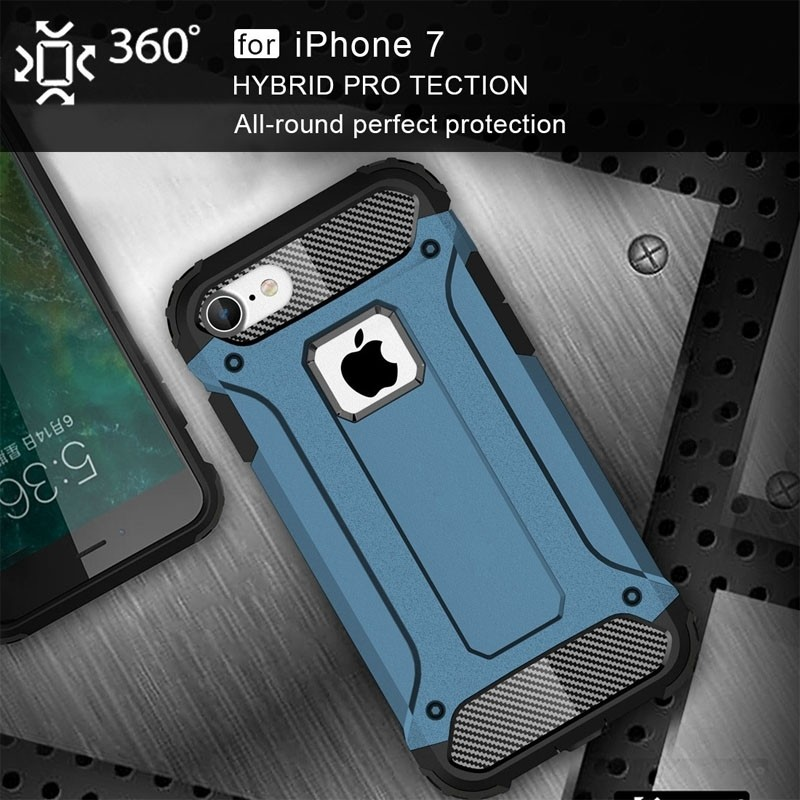 Mobiq - Rugged Armor Phone 8/7 Hoesje Blauw - 3