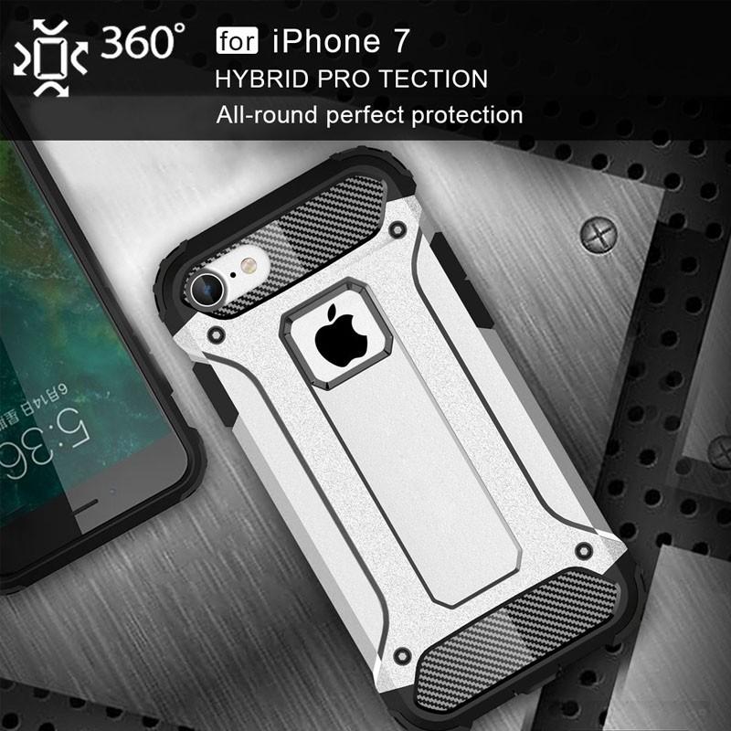 Mobiq - Rugged Armor Phone 8/7 Hoesje Zilver - 3