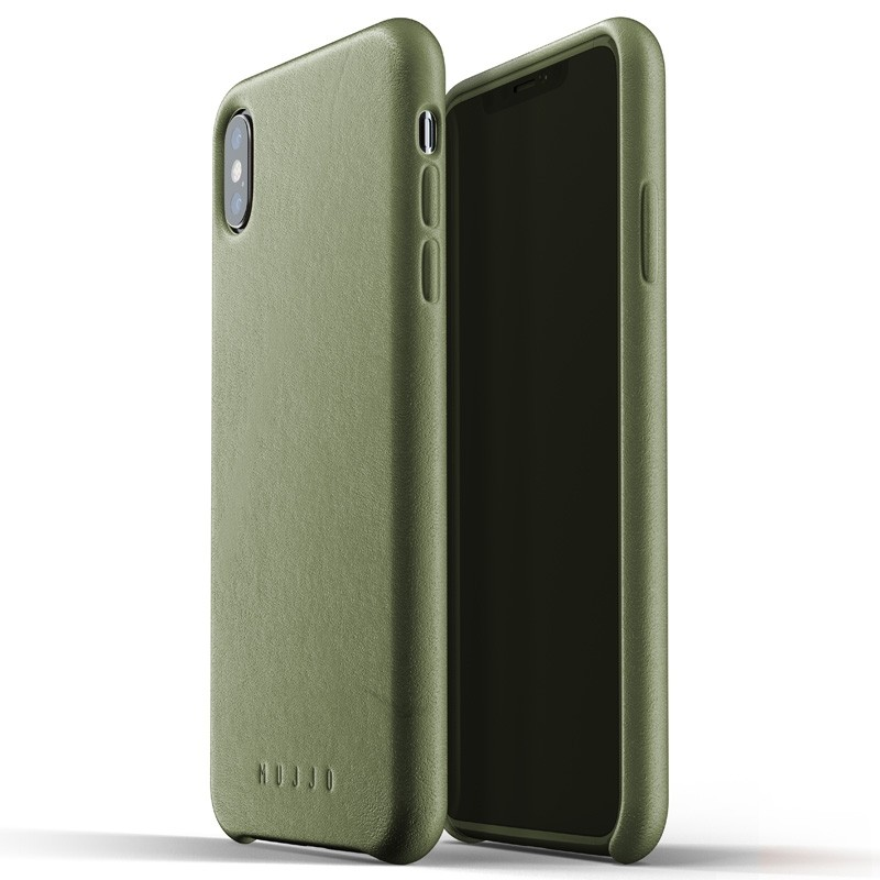 Mujjo Full Leather Case iPhone XS Max olijfgroen 03