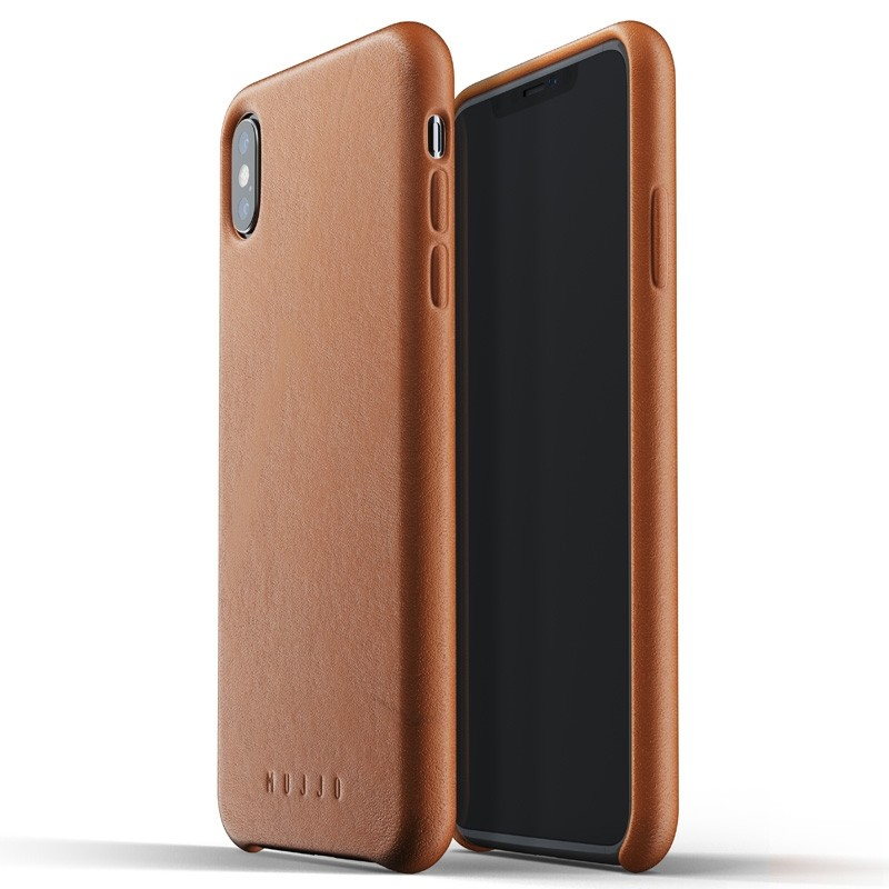 Mujjo Full Leather Case iPhone XS Max tan bruin 03