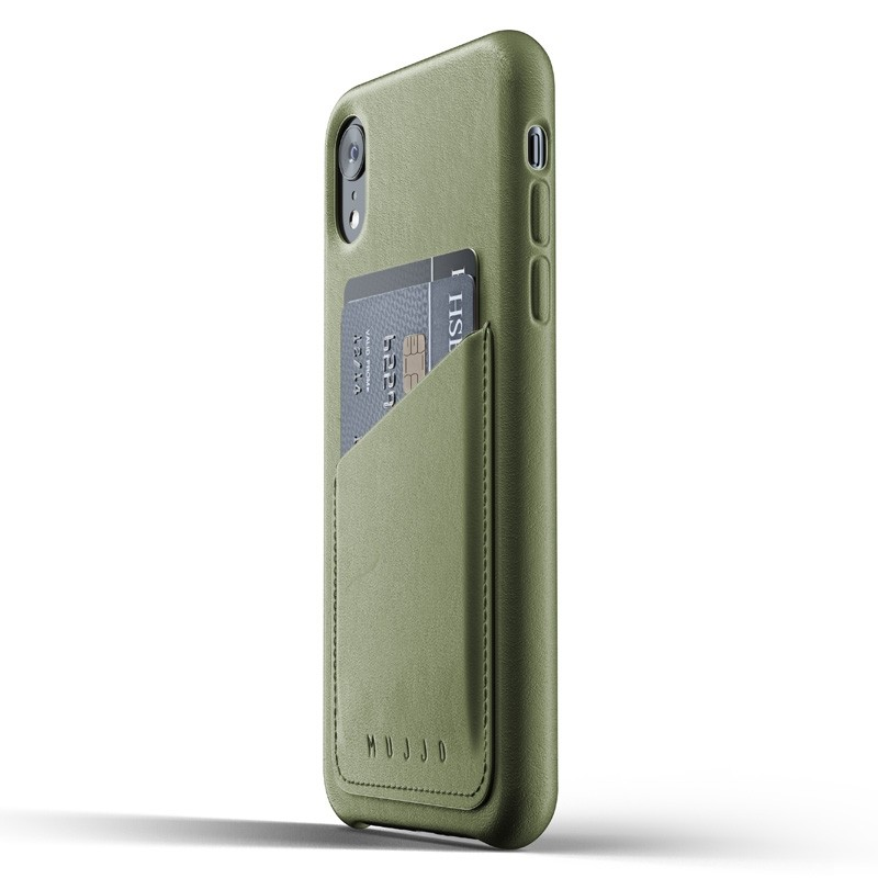 Mujjo Lederen iPhone XR Wallet Case Olijf 03