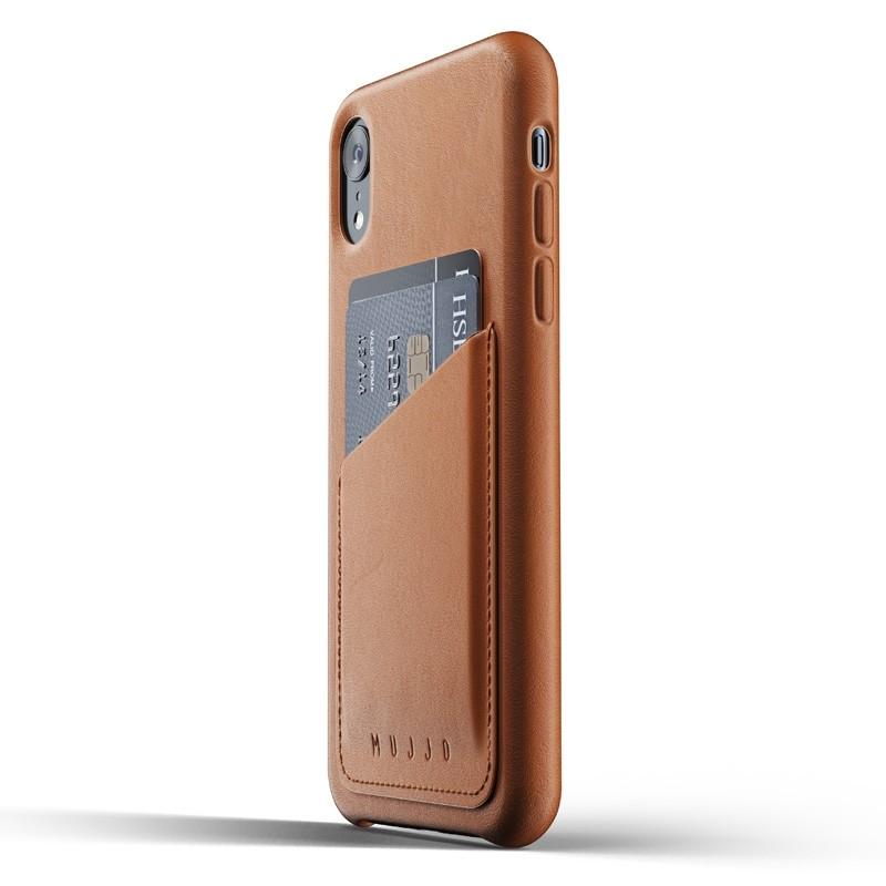 Mujjo Lederen iPhone XR Wallet Case Tan Bruin 03
