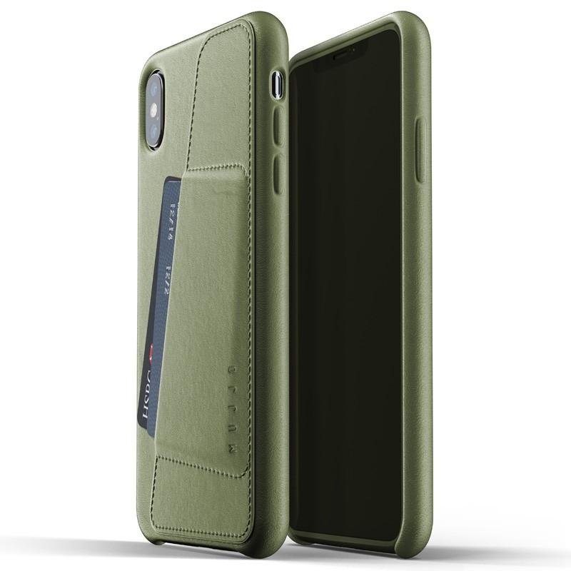 Mujjo Full Leather Wallet Case iPhone XS Max Olijfgroen 03