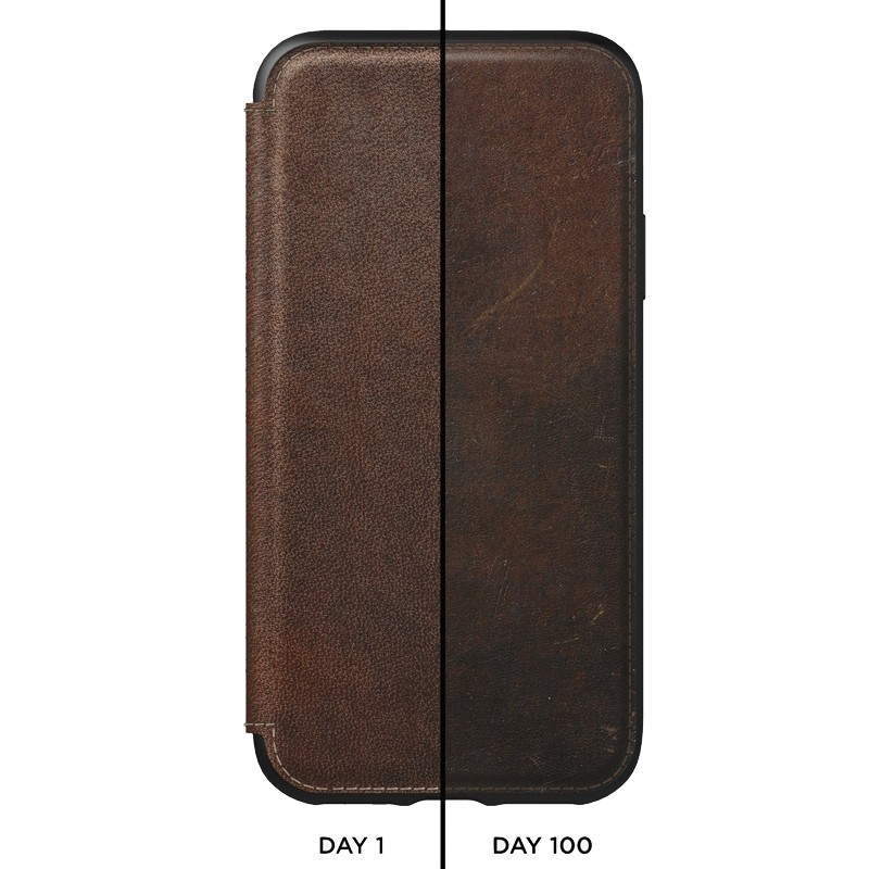 Nomad Rugged Tri-Folio Leather Case iPhone XS Max Bruin 03