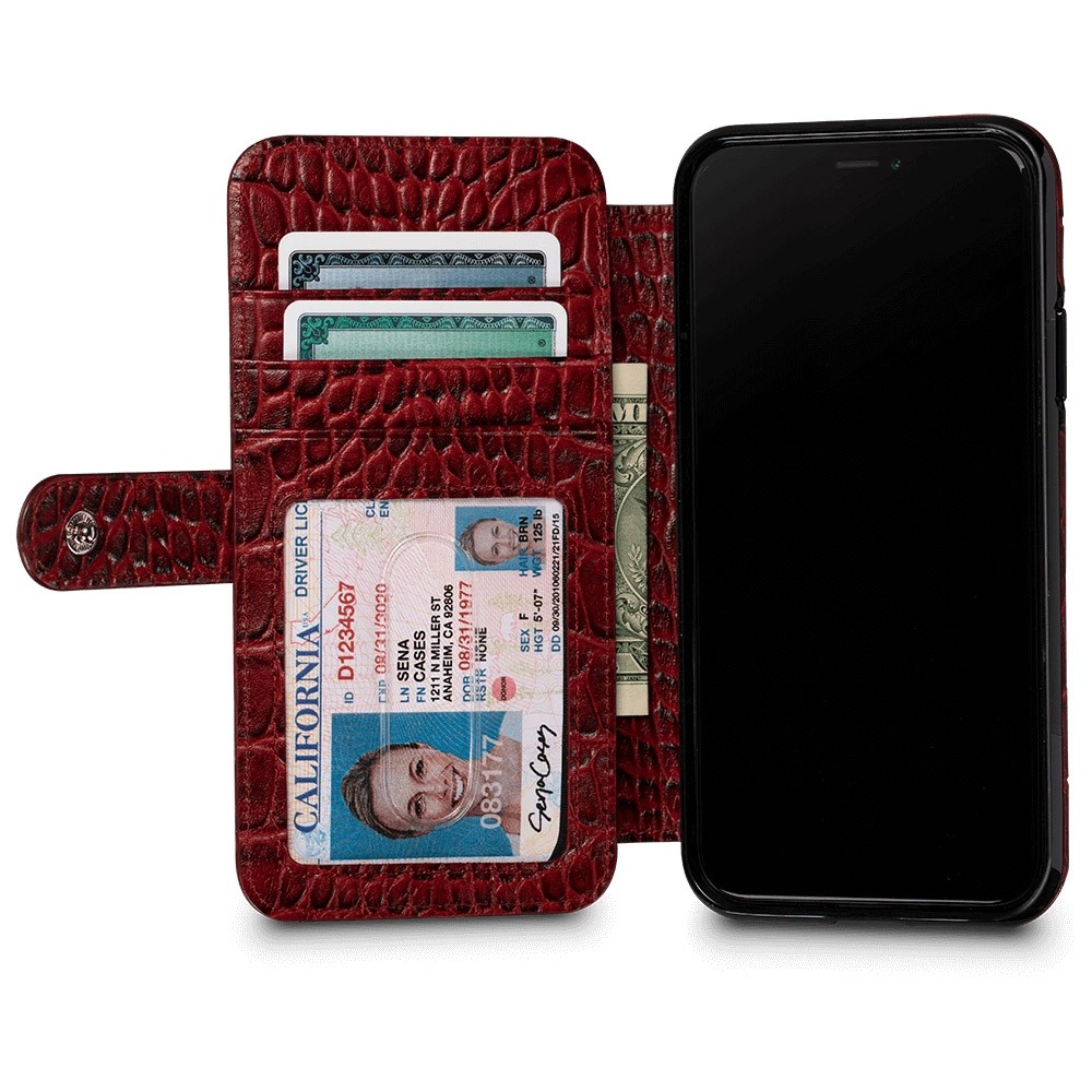 Sena Wallet Book Classic iPhone X/Xs Croco Rood - 3