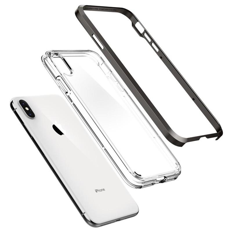 Spigen Neo Hybrid Crystal iPhone XS Max Hoesje Gunmetal Transparant 03