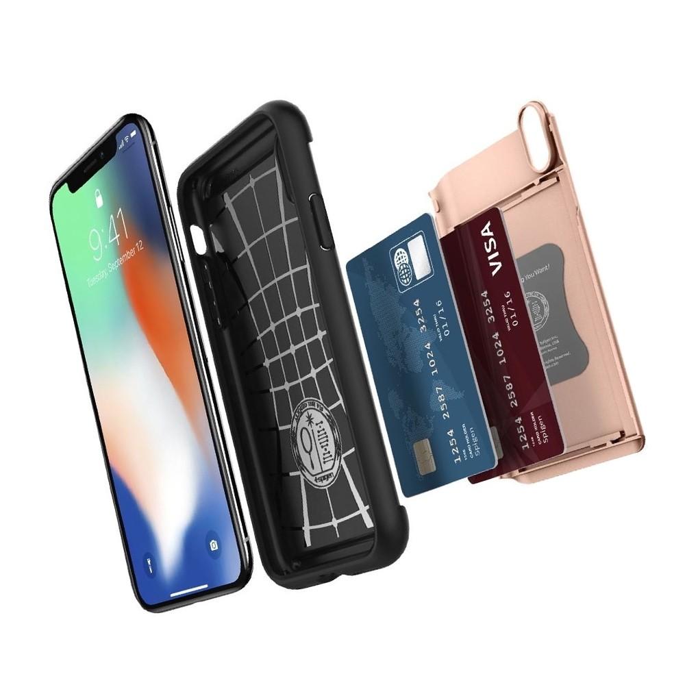 Spigen Slim Armor CS iPhone X/Xs Hoesje Roze Zwart 03