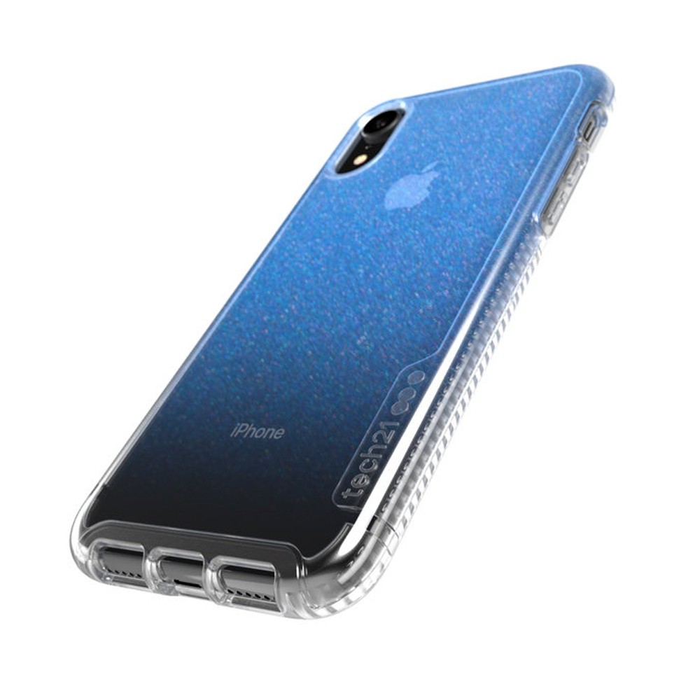Tech21 Pure Shimmer iPhone XR Hoesje Blauw Transparant 03