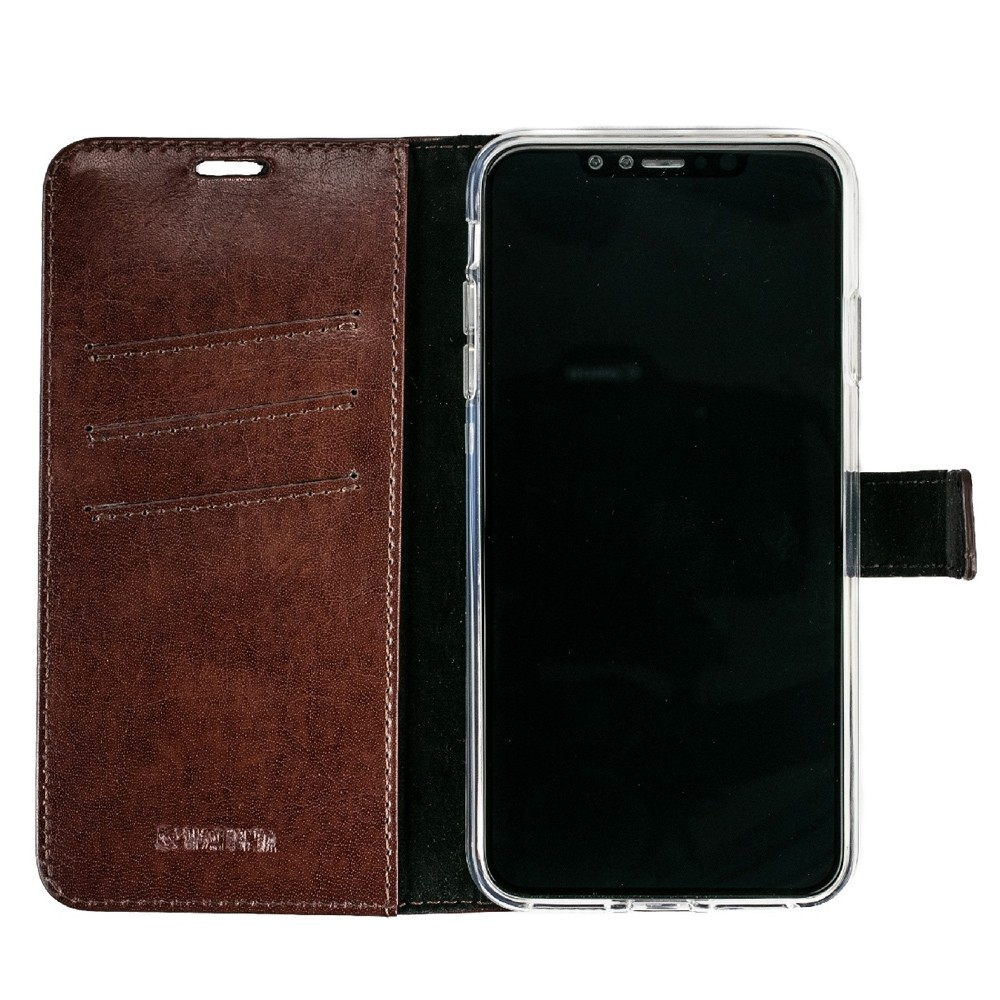 Valenta Booklet Leather Gel Skin iPhone XS Max Bruin 03