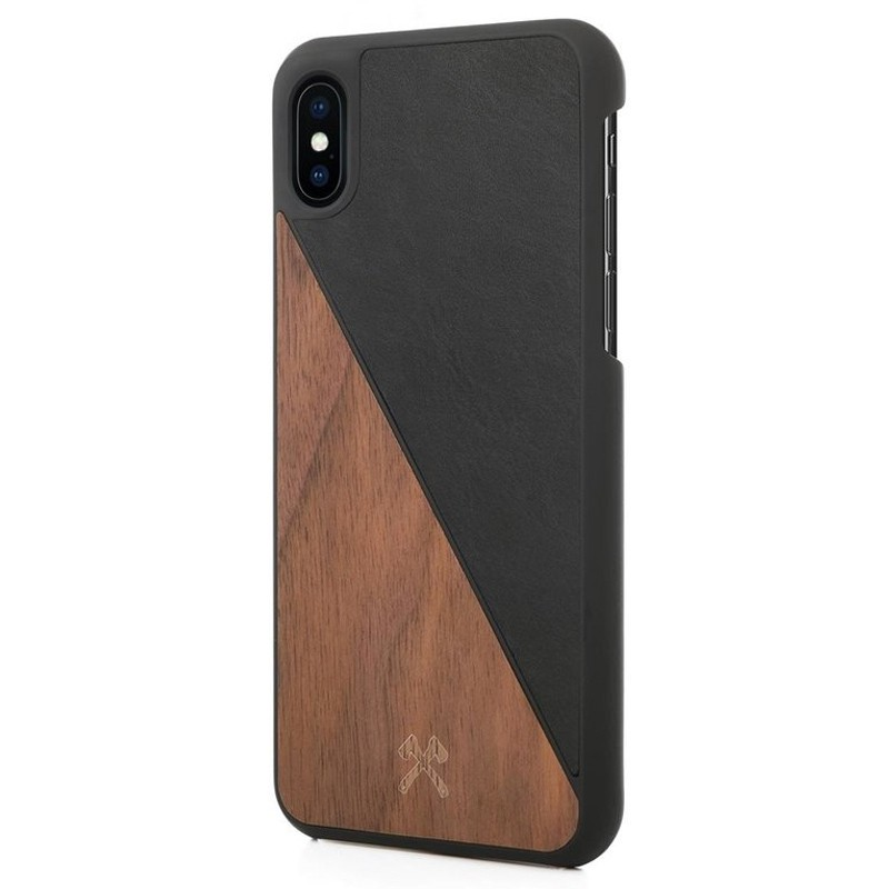Woodcessories EcoSplit iPhone XS Max Hoesje Zwart/Walnoot 03