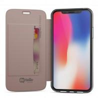 BeHello Clear Back Book Case iPhone X Roze Goud Transparant 01