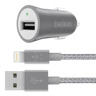 Belkin - Metallic Autolader met Lightning Kabel Grey 01