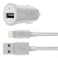 Belkin - Metallic Autolader met Lightning Kabel Silver 01