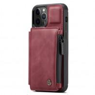 CaseMe Retro Zipper Wallet iPhone 12 Mini 5.4 inch Rood 01