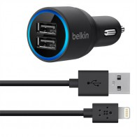 Belkin 2.1A Dual Autolader met Lightning Cable black - 1