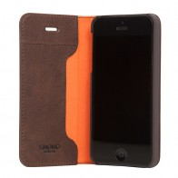 Knomo Leather Folio iPhone SE/5S/5 Bruin - 1