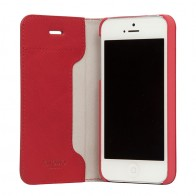 Knomo Leather Folio iPhone SE/5S/5 Scarlet Rood - 1