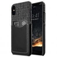 Melkco - Holmes Series Fine Grid Card Slot iPhone X/Xs Zwart/Wit 01