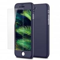 Mobiq 360 Graden Full Body Beschermhoes iPhone 8 Plus Blauw - 1