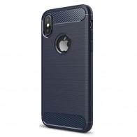 Mobiq Hybrid Carbon iPhone XS Max Hoesje Blauw 01