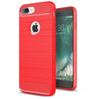 Mobiq - Hybrid Carbon iPhone 8 Plus / 7 Plus Hoesje Rood - 1