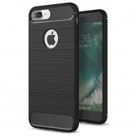 Mobiq - Hybrid Carbon iPhone 8 Plus / 7 Plus Hoesje Zwart - 1