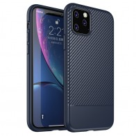Mobiq - Zakelijk Carbon Hoesje iPhone 11 Pro Max Blauw - 1